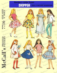 Vintage McCall's 7716 9 inch doll sewing pattern - PDF