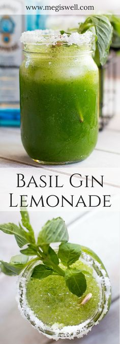 The basil, lemons, and gin in this Basil-Gin Lemonade create a refreshing, brisk, and cool beverage that is perfect for hot days. | www.megiswell.com