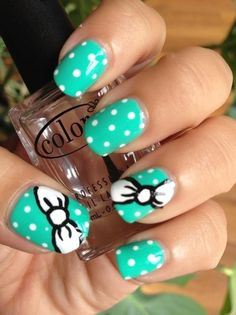 Bow nails! Mint, black, and white
