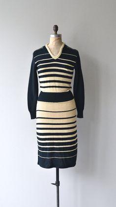 Walk the Line dress vintage 1970s knit dress 70s by DearGolden