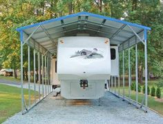 See these metal buildings with carport attachments. Trailer Storage, Truck Storage, Boat Storage, Vehicle Storage, Rv Trailer, Trailers, Rv Carports, Metal Carports, Covered Rv Storage