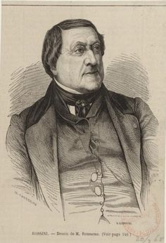 Gioacchino Rossini (1792-1868), engraving (1868), drawn by Henri Rousseau (1875-1933), engraved by Adolphe Gusman (1821-1905), after a photograph (1864), by Étienne Carjat (1828-1906).