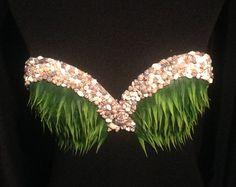 Custom Turquoise Mermaid Top by WRecklessGlamour on Etsy Tahitian Costumes, Tahitian Dance, Polynesian Dance, Hula Skirt, Mermaid Top, Hula Dancers, My Flower, Flowers, Dance Dresses