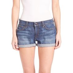 Joe's Clean Rolled Jean Shorts ($105) ❤ liked on Polyvore featuring shorts, apparel & accessories, emmie, blue jean shorts, blue denim shorts, blue jean short shorts, cotton shorts and jean shorts