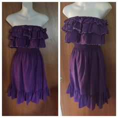 """Rebecca Taylor beaded purple silk tiered dress Brand new with tags Rebecca Taylor silk sequin ruffled party dress -Three tiers of sequined ruffles with an elastic waist make this dress very flattering! -Size 2. -Strapless with elastic neckline -Made out of 100% silk. -Color is called grape. It is a gorgeous purple color.  -Unlined. Comes with a couple extra sequins.  -NWT Measurements: -top to bottom is 29"""" -across the tube tup 12"""" -through the elastic waist 9.5"""" Rebecca Taylor Dresses"""