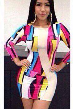 Geometric Long-sleeve Mini Dress