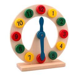 幼儿早教认知必备教材宝宝认识时间木制数字时钟手动玩具益智早教
