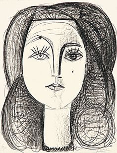 """Pablo Picasso (Málaga 1881-1973 Mougins) """"Francoise"""" Lithographie 14.6.1946 65 x 49,5 cm Abb. 63 x 50 cm sign. num. Auflage 55 Exemplare"""