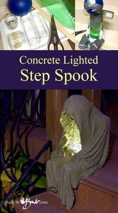 Concrete Lighted Step-Spook madebybarb draped concrete Make this simple concrete lighted step-spook with household waste and some concrete fabric draping. He is small scale and portable.Concrete Lighted Step Spook—madebybarb costumes for teachers h Hallowen Ideas, Diy Halloween Decorations, Spooky Halloween, Holidays Halloween, Halloween Crafts, Halloween Garden Ideas, Diy Halloween Props, Decoration Crafts, Halloween Lighting
