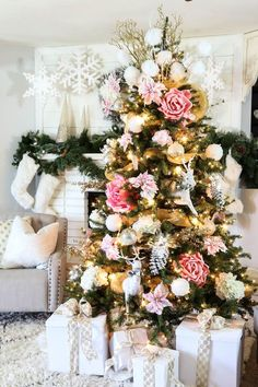 These pink Christmas trees have us ready for a pink Christmas. Find inspiration with these decorating ideas to deck out your own pink Christmas tree. Creative Christmas Trees, Pink Christmas Tree, Shabby Chic Christmas, Silver Christmas, Noel Christmas, Xmas Tree, Beautiful Christmas, Christmas Tree Decorations, Tree Tree