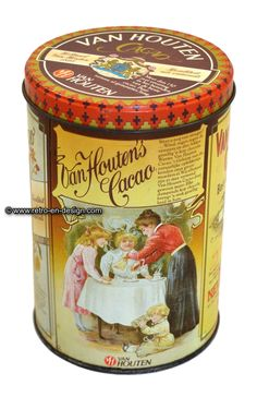 Van Houten vintage Cocoa tin Nice romantic tin by Van Houten's Cocoa with nostalgic images.  Height: 15 cm.  Diameter: 10 cm.  http://www.retro-en-design.co.uk/a-46605733/tins/van-houten-vintage-cocoa-tin/
