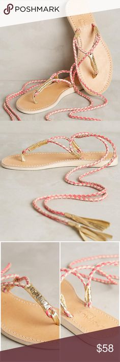 HP Anthropologie Cocobelle Gili Wrap Sandals Desk — Anthropologie Cocobelle Gili Wrap Coral Sandals --- Euro 38 --- According to Cocobelle website  a Euro 38 = US 6.5 --- New in box Anthropologie Shoes Sandals