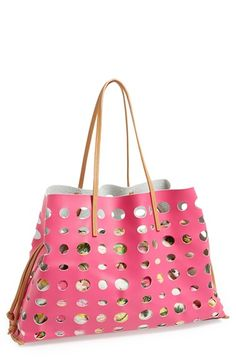 POVERTY FLATS by rian 'Large' Perforated Faux Leather Tote available at #Nordstrom