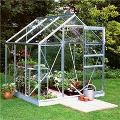 6×6 Popular Horticultural Glass. Our Halls Silver Aluminium Popular 6 x 6 Metal Greenhouse is a great way for garden enthusiasts to grow a great variety of plants in different seasons. This greenhouse comes in three different glass finishes horticultural, toughened glass or polycarbonate glazing. You can also purchase an optional halls auto vent to help you control variations in temperature, it can be attached to any halls opening roof vent.
