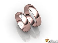 His and Hers Flat-court (comfort Fit) 18ct. Rose Gold Matching Wedding Rings Manufactured by DiamondGeezer.com