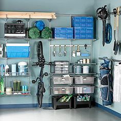 One great option for organizing your garage is The Container Store's Platinum elfa Utility Garage System.  It's modular and completely flexible to your space and storage needs.  Accessories allow you to change it over time.  And you can get it in a free-standing design so you don't even have to drill holes into the walls for the mounting standards!