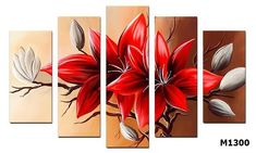 Multi Canvas Painting, Acrylic Painting Flowers, Abstract Flowers, Acrylic Art, Flower Canvas Art, Oil Pastel Drawings, Painting Patterns, Decoration, Ideas