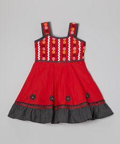 Look what I found on #zulily! Red & Black Polka Dot Floral Dress - Toddler & Girls #zulilyfinds
