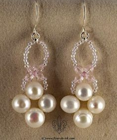 Pearl-n-crystal pink earrings by Fleur-de-Irk.deviantart.com