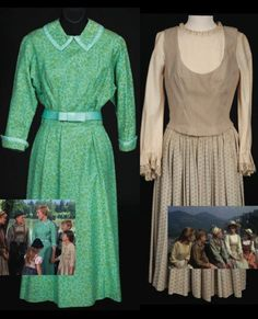 Sound of Music (1965) | The turquoise and green dress worn by Julie Andrews as 'Maria' when she returns to the Von Trapp's after running away to the Abbey. | Estimate: $6,000 - $8,000 | Right: the heavy ecru cotton dress with light blue pattern on the skirt she wears when the boat flips over. | Estimate: $30,000 - $50,000 | Debbie Reynolds' iconic cinema costume auction | Telegraph, June 8, 2011 Sound Of Music Costumes, Sound Of Music Movie, Movie Costumes, Hollywood Fashion, Classic Hollywood, Hollywood Style, Flipped Movie, Image Fashion, Debbie Reynolds