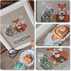 Cross Stitch Books, Cross Stitch Animals, Cross Stitch Charts, Star Darlings, Natural Linen, Xmas, Christmas, Cocoa, Merry