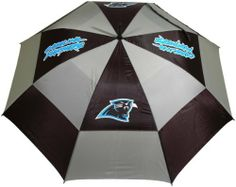 """NFL Carolina Panthers 62-Inch Double Canopy Umbrella by Team Golf. $27.99. 100% nylon fabric. -1. 4 location imprint and printed sheath. Auto open button. Double canopy wind protection design. 62"""" Umbrella. NFL Carolina Panthers 62-Inch Double Canopy Umbrella"""