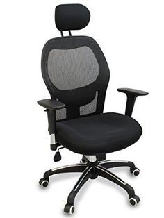 """""""Walker"""" Fully Adjustable Mesh Office Computer Chair with Adjustable Lumbar Support, Adjustable Armrests, Adjustable Headrest and Multi-Position Recline Control (Black Wheels)"""