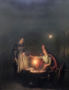Vendedora de Peixe - Petrus van Schendel e suas pinturas ~ Especialista em cena noturna