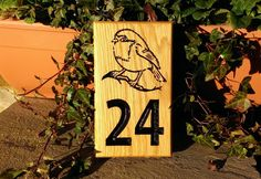 House Number Sign - Extra Small - 190 x Bramble, Novelty Items, House Numbers, Personalized Signs, Home Signs, Solid Oak, Hardwood, Painting, Design