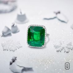 An Emerald Diamond Ring featuring a breathtaking 17.59-carat center stone will do the trick. Harry Winston High Jewelry