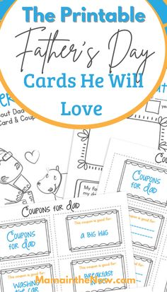 """These FREE and ADORABLE printable Father's Day cards are a one-stop for the kids to make something cute for Father's Day. There's a printable card, """"all about my dad"""" fill-in letter and adorable coupons for dad! This is the perfect heartfelt Father's Day gift without having to leave the house or spend any money! #FathersDay #Printable #PrintableFathersDay #AllAboutMyDad #PrintableCards #MamaintheNow Fathers Day Crafts, Happy Fathers Day, Printable Cards, Free Printables, Father's Day Diy, Big Hugs, Happy Summer, Medical Advice, Happy Family"""
