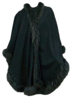 Bergama Cashmere Blend Cape with Raccoon Trim - Grey Bergama. $399.99