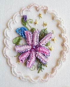 "From the book, ""My LadyFlowers"" by Rosalie Wakefield - Brazilian dimensional embroidery."