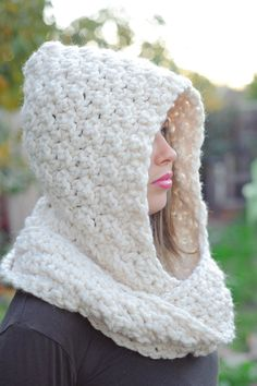 Hooded scarf off white chunky scarf spring scarf by Shanionie
