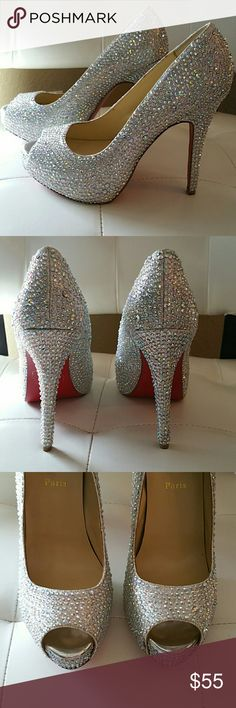 """Rhinestone embellished high heels GORGEOUS shoes for special occasions! I purchased them from a boutique for my wedding. They say """"Made in Italy"""" on the bottom and """"Paris"""" on the insole so I'm not really sure where they were made/sold. They are not any luxury brand. Shoes Heels"""