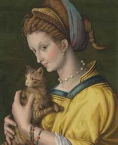Antonio d'Ubertino Verdi, called Bachiacca (Florence 1499-1572) Portrait of a young lady holding a cat