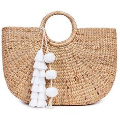 Jade Tribe White Tasseled Basket Bag (8.430 RUB) ❤ liked on Polyvore featuring bags, handbags, purses, beach bag, white, pom pom beach bag, white hand bags, pom pom bag and hand bags
