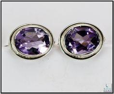 Amethyst Silver Earring Gemstone Jewelry 925 Sterling Silver Jewelry by Riyo Gems Handmade Jewellery http://www.riyogems.com