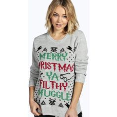 Boohoo Erin Ya Filthy Muggle Christmas Jumper ($26) ❤ liked on Polyvore featuring tops, sweaters, grey, turtleneck sweater, nordic sweater, gray knit sweater, gray turtleneck sweater and christmas jumper