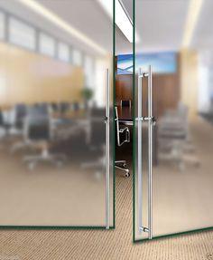office frameless glass door locks | This sliding glass door has a ...