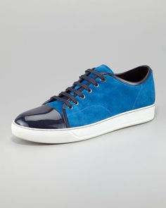Suede-Patent Leather Trainer by Lanvin at Bergdorf Goodman.
