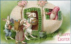 A family of rabbits bring baskets of dyed Easter eggs and violets in baskets to a Gnome that lives in a giant eggshell.