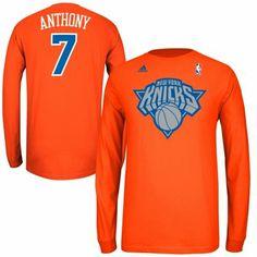 Adidas Carmelo Anthony New York Knicks X-Mas Day Name and Number Long Sleeve T-Shirt - Orange