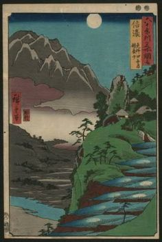 "Hiroshige ""The Moon Reflected,"" from ""Views of the 60-Odd Provinces"""