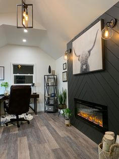 Chevron Shiplap Fireplace we built in a 10 x 20 Office Shed Sherwin Williams Iron Ore Shiplap Room, Home Fireplace, Fireplace Design, Home Remodeling, New Homes, Brick Fireplace Makeover, Build A Fireplace, House, Office With Fireplace