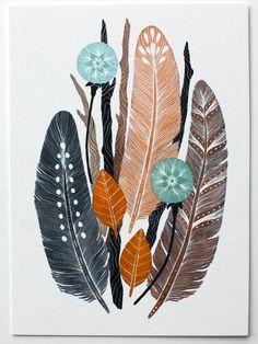 Aquarelle, Nature Art, plumes et pissenlits - Archiv - collecte Bundle