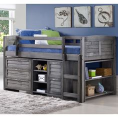 Donco Kids Antique Grey Pine Wood Twin Louver Low Loft Bed with Chest, Shelves, and Small Bookcase Image 1 of 2 Bunk Beds With Stairs, Kids Bunk Beds, Mid Sleeper Bed, Casa Loft, Small Bookcase, Bookshelves, Low Loft Beds, Double Loft Beds, Bed Slats