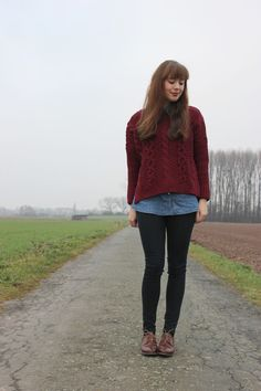 Burgundy cable sweater