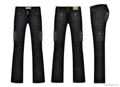 Women Denim Cargo Pants Vector Template