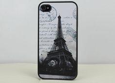 Retro The Eiffel Tower Black  Hard Case Cover for Apple iPhone 4gs Case, iPhone 4s Case, iPhone 4 Hard Case